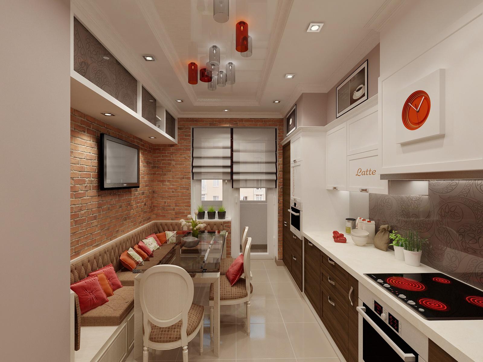 Дизайн кухни 12 кв с балконом