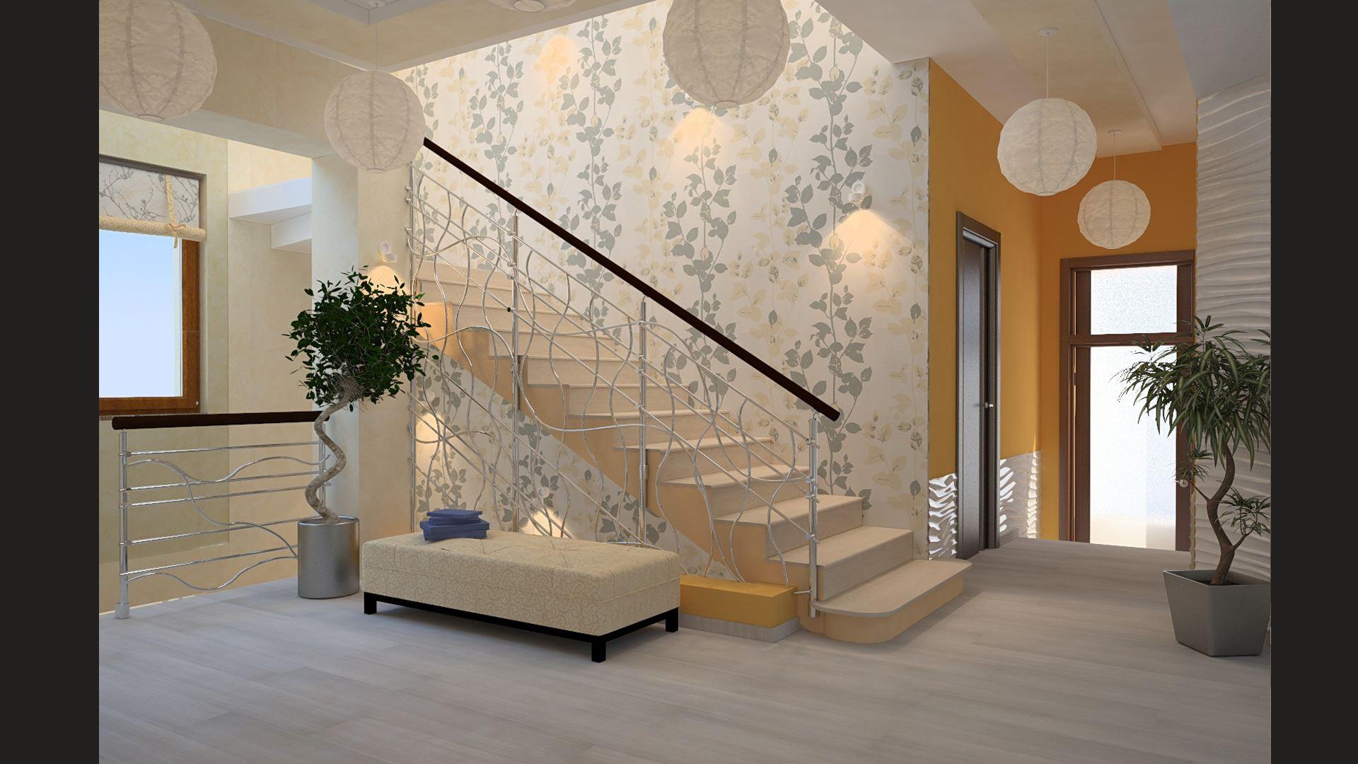 цвета обои в холл с лестницей фото секрет
